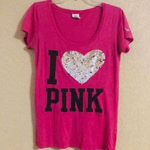 PINK VICTORIA SECRET I ❤️ PINK Short Sleeve Shirt